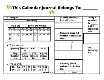 Calendar Journal - editable