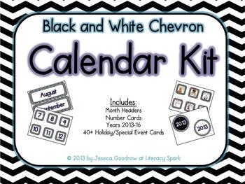 Calendar Kit (Black & White Chevron)