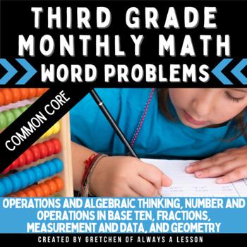 3rd Grade Monthly Calendar Math Word Problems