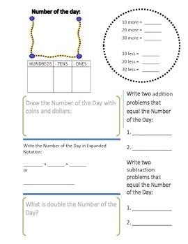 Calendar Math One Sheet