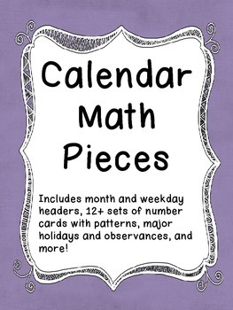 Calendar Math - Pieces and Labels