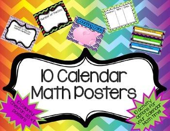 Calendar Math Posters- Chevron- 10 Activity options for yo