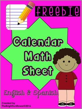 Calendar Math Sheet in English & Spanish FREEBIE
