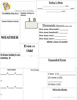 Calendar Math Student Recording Sheet