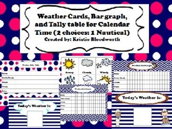 Calendar Math Weather, Bar graph, Tally table (2 versions-