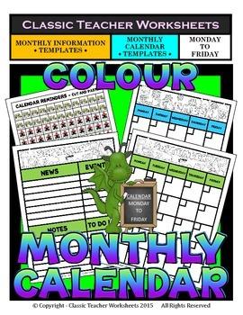 Calendar -Monthly Calendar (Mon. to Fri.) & Monthly Inform