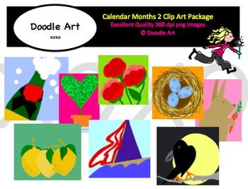 Calendar Months 2 Clipart Pack