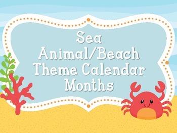 Calendar Months Sea Animal/Beach Theme