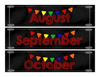 Calendar Months of the Year Chalkboard and Primary