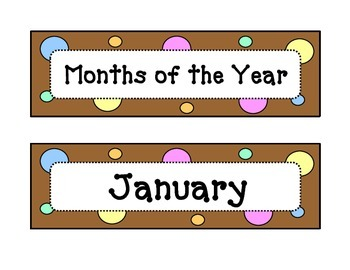 Calendar - Months of the Year - Dots & Pastel, Chocolate B