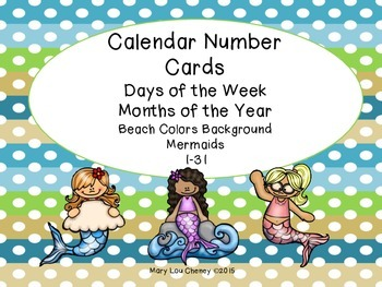 Calendar Number Cards-Mermaids
