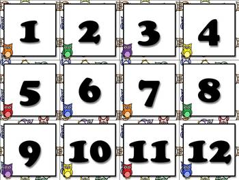 Calendar Number Cards - Numbers 1-31 - Owls Theme - King Virtue