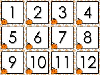 Calendar Number Cards Numbers 1-31 Pumpkin Fall Festival T