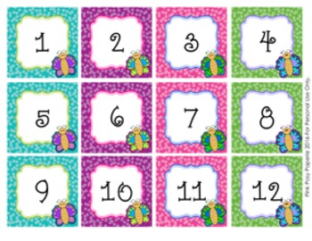 Calendar Numbers Butterfly Theme