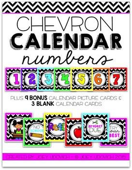 Calendar Numbers - Chevron Theme