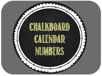Calendar Numbers -- Yellow Chalkboard Style