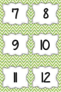 Calendar Numbers or Number Cards in Green Chevron
