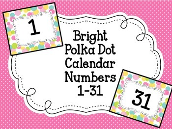 Calendar NumbersBright Polka Dot