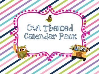 Calendar Pack Owl Themed - Pocket Chart or Velcro