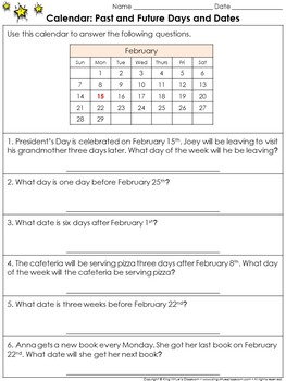 Calendar: Past and Future Days and Dates Practice Sheets -