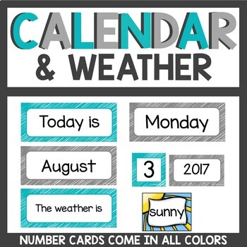 Calendar Cards Gray and Teal