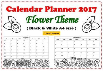 2017 Calendar Planner Floral Theme