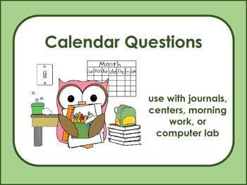 Calendar Questions - Calendar Skills and Math Calculation Skills