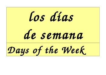 Days of the Week Calendar in Spanish