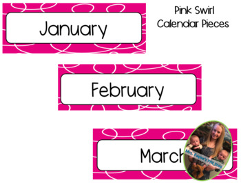 Pink Swirl Calendar Pieces