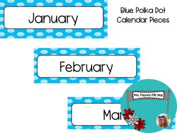 Blue Polka Dot Calendar Pieces