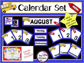 Calendar Set - August - School Bus & Crayon