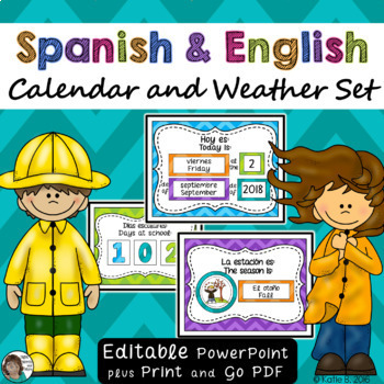 Calendar Set Bilingual {Spanish / English} EDITABLE Chevron