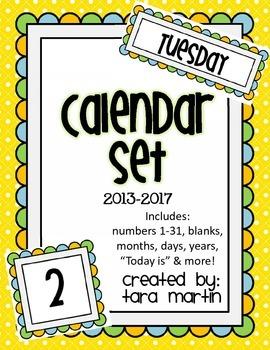 Calendar Set {Blue, Green, Light Orange}