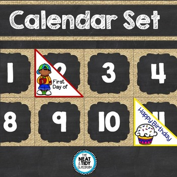 Calendar Set (Burlap and Chalkboard)