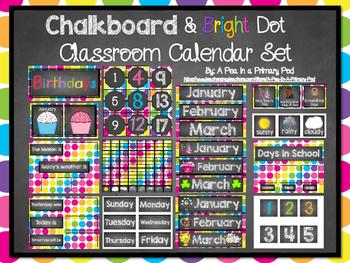 Calendar Set: Chalkboard and Bright Dot