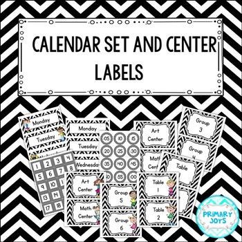 Calendar Set and Center Labels {Black & White Chevron}