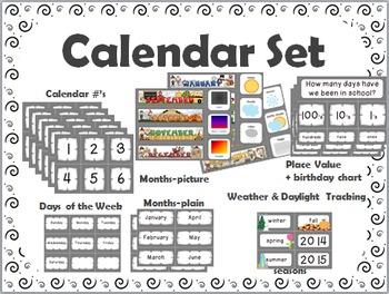 Calendar Set { black swirls on white } saves ink
