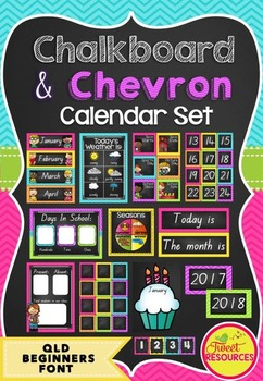 Calendar Set in Chalkboard and Chevron (QLD Beginners Font)