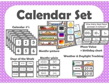 Calendar Set { purple polka dot }