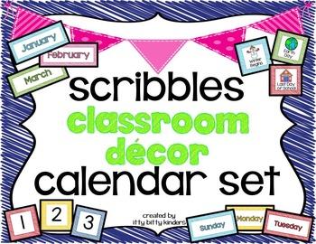 Calendar Set: Classroom Décor scribbles