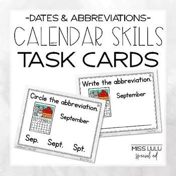 Calendar Concept Task Cards