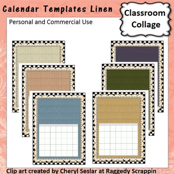 Calendar Template Linens personal & commercial use