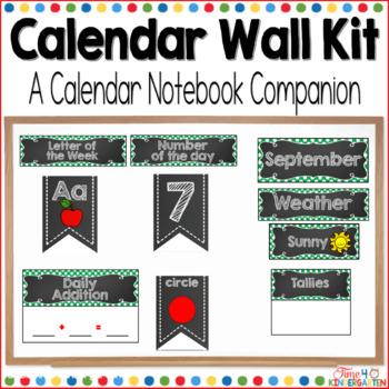 Calendar Time Wall Kit (editable) with Green Polka Dot