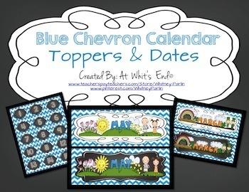Calendar Toppers & Dates II {Blue Chevron} Back to School