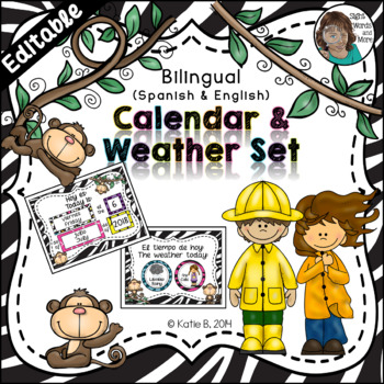 Calendar Time - A Set with a Weather Focus Bilingual {Span