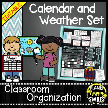 Calendar/Weather Set ~ Teal and Chalkboard Theme