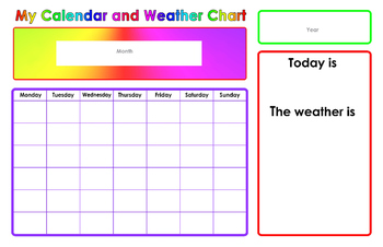 Calendar and Weather Chart for preschool