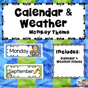 Calendar and Weather Set Monkey Theme