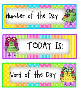 Owl theme Everything you need to start each day!