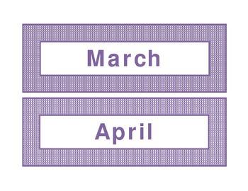 Calendar headings purple plaid in English